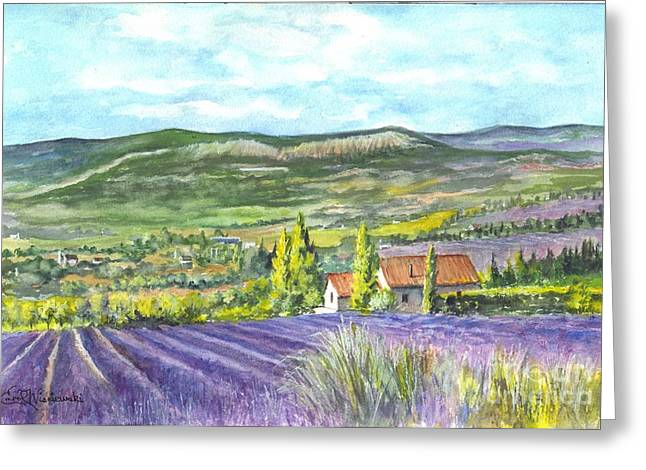 Country Cottage Drawings Greeting Cards - Montagne de Lure en Provence Greeting Card by Carol Wisniewski