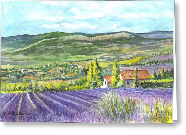 Country Cottage Drawings Greeting Cards - Montagne de Lure in Provence France Greeting Card by Carol Wisniewski