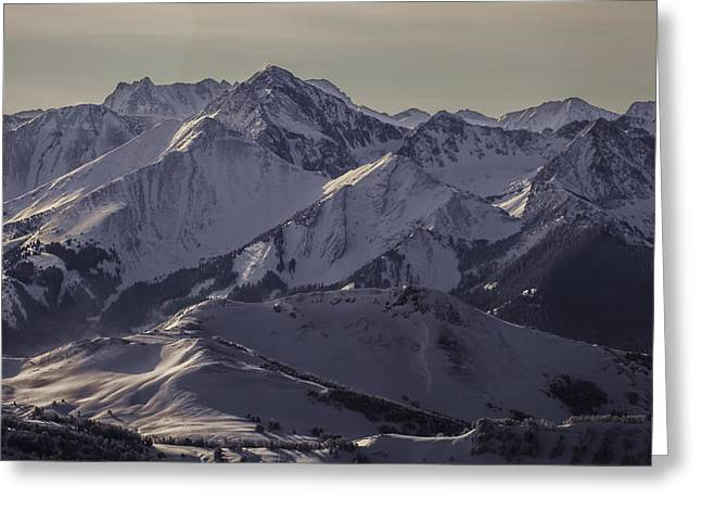 Fine Art Skiing Prints Greeting Cards - Montagnes Impenetrables Greeting Card by Russell Nordstrand