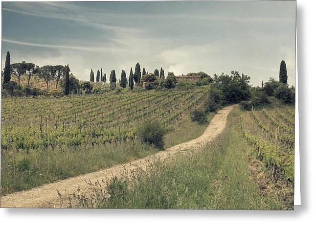 Italian Wine Greeting Cards - Montalcino - Tuscany Greeting Card by Joana Kruse