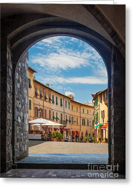 Opening Greeting Cards - Montalcino Loggia Greeting Card by Inge Johnsson