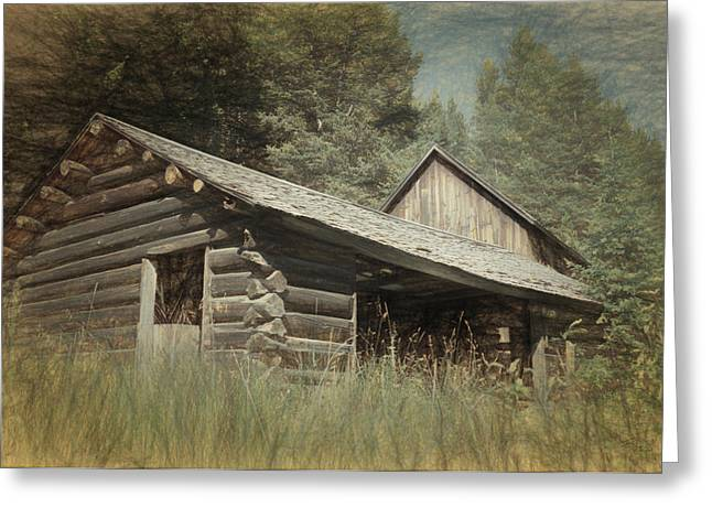 Town Mixed Media Greeting Cards - Montana Cabin Greeting Card by Richard Rizzo