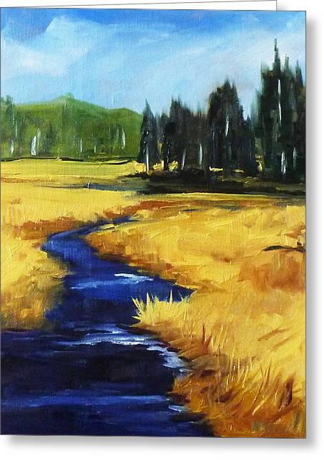 Park Scene Paintings Greeting Cards - Montana Creek Greeting Card by Nancy Merkle