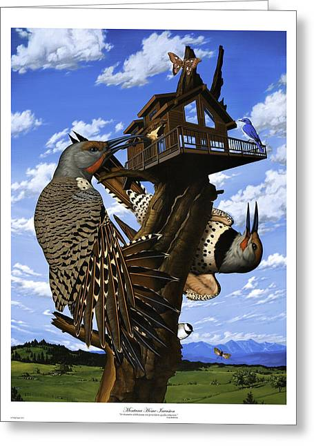 Philip Slagter Paintings Greeting Cards - Montana Home Invasion Greeting Card by Philip Slagter