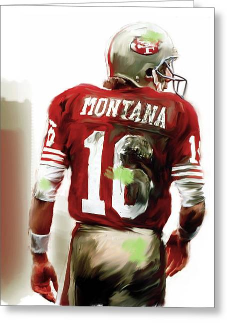 49ers Greeting Cards - Montana  Joe Montana Greeting Card by Iconic Images Art Gallery David Pucciarelli