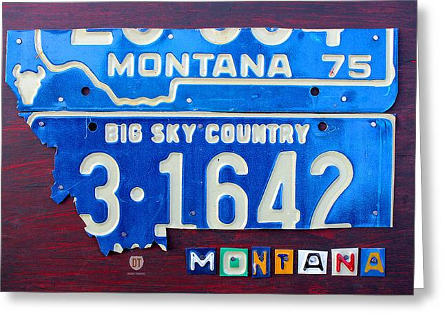 Montana State Map Greeting Cards - Montana License Plate Map Greeting Card by Design Turnpike