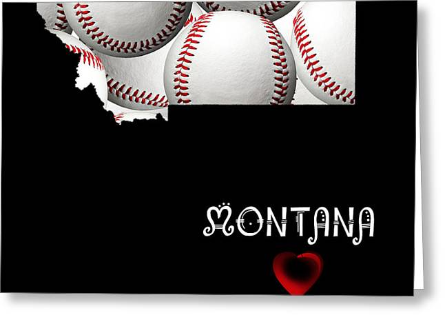 Montana State Map Greeting Cards - Montana Loves Baseball Greeting Card by Andee Design