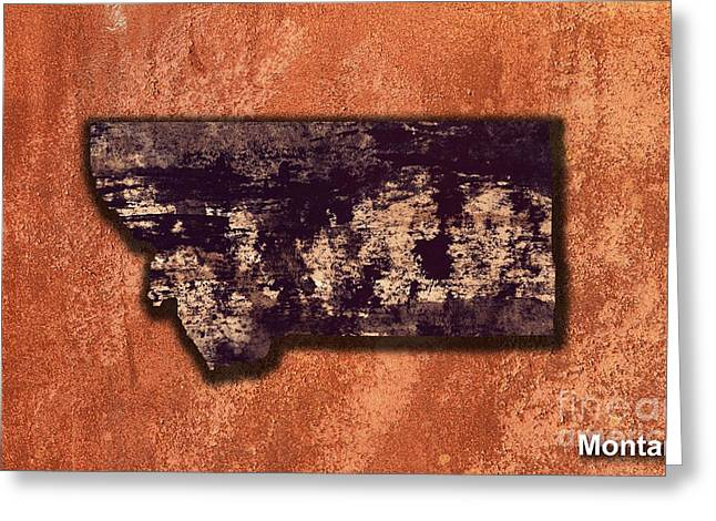 State Of Montana Mixed Media Greeting Cards - Montana Map Greeting Card by Marvin Blaine