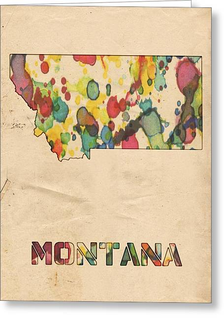 Montana Digital Art Greeting Cards - Montana Map Vintage Watercolor Greeting Card by Florian Rodarte