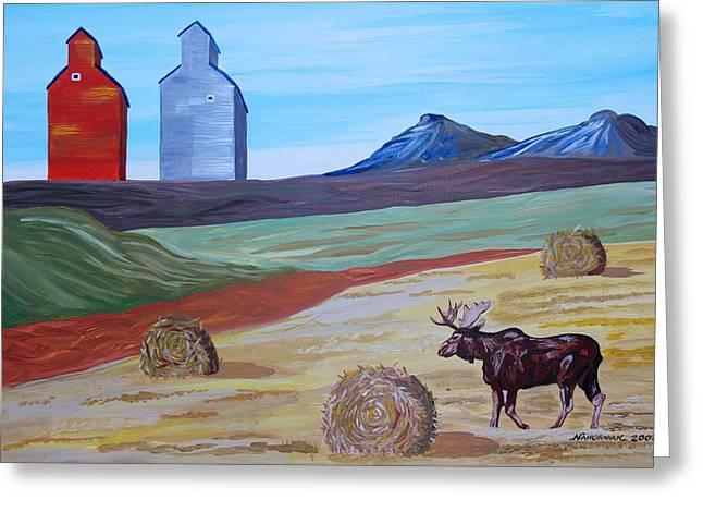 Montana Moose Greeting Card by Mike Nahorniak