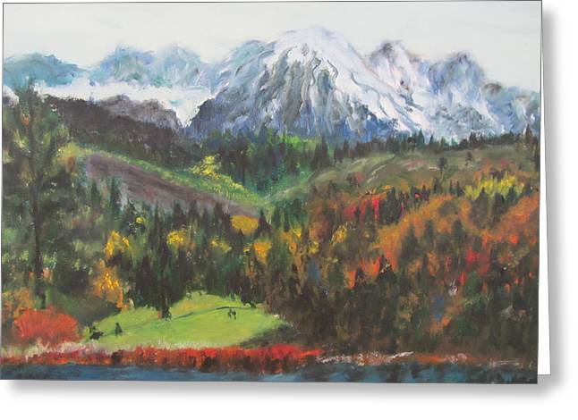 Rivers In The Fall Paintings Greeting Cards - Montana Mountains in the Fall Greeting Card by Lucille  Valentino