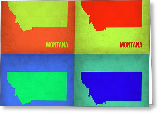 Montana Digital Art Greeting Cards - Montana Pop Art Map 1 Greeting Card by Naxart Studio