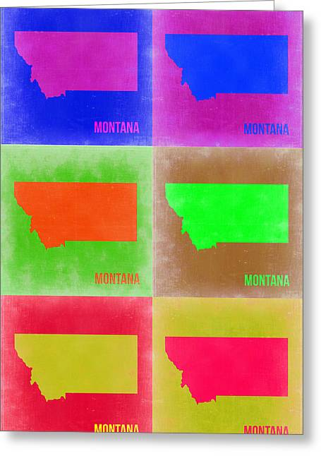 Montana Digital Art Greeting Cards - Montana Pop Art Map 2 Greeting Card by Naxart Studio