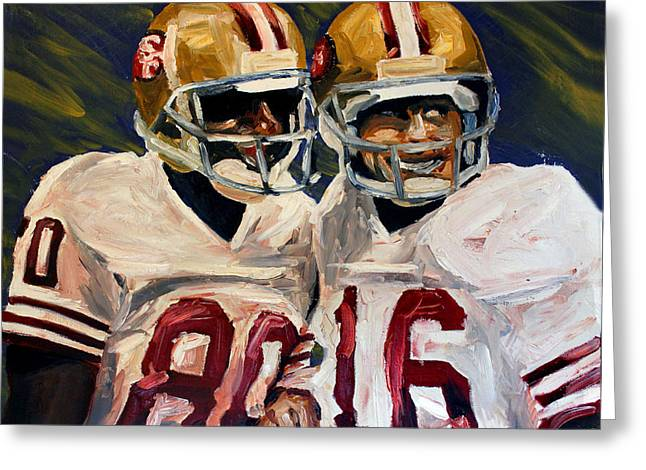 49ers Paintings Greeting Cards - Montana Rice Greeting Card by Adam Barone