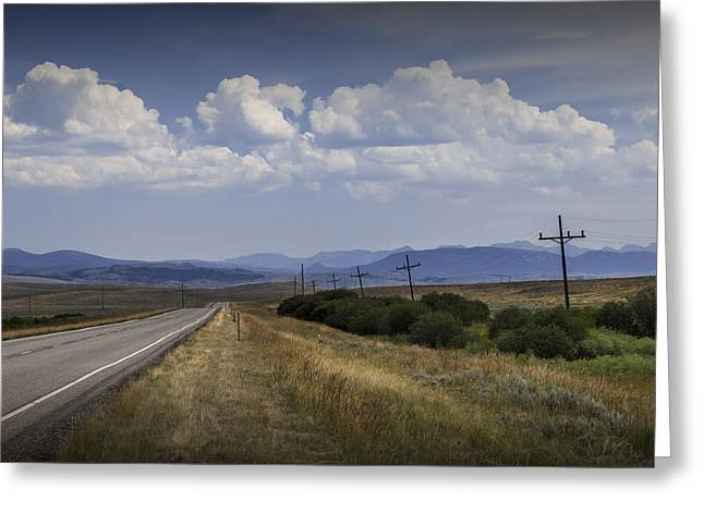 Montana Landscape Art Greeting Cards - Montana Road Highway with Mountains in the Background Greeting Card by Randall Nyhof
