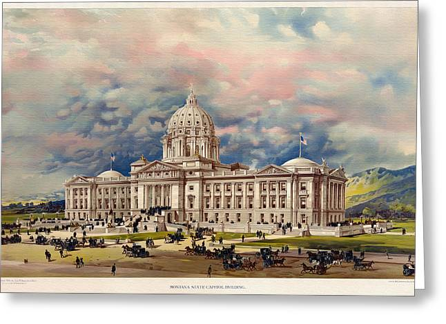 Lithograph Mixed Media Greeting Cards - Montana State Capitol - 1896 Greeting Card by Mountain Dreams