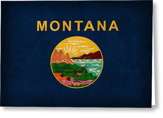 Montana Greeting Cards - Montana State Flag Art on Worn Canvas Greeting Card by Design Turnpike