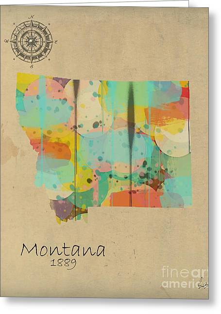 Montana State Map Greeting Cards - Montana State Map Greeting Card by Bri Buckley