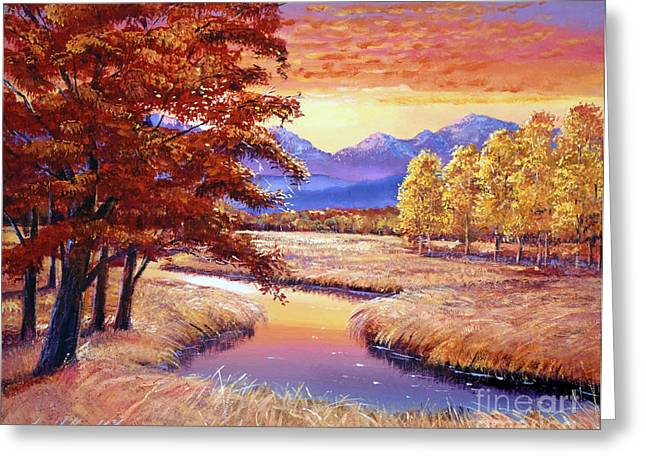 Mist Paintings Greeting Cards - Montana Sunset Greeting Card by David Lloyd Glover