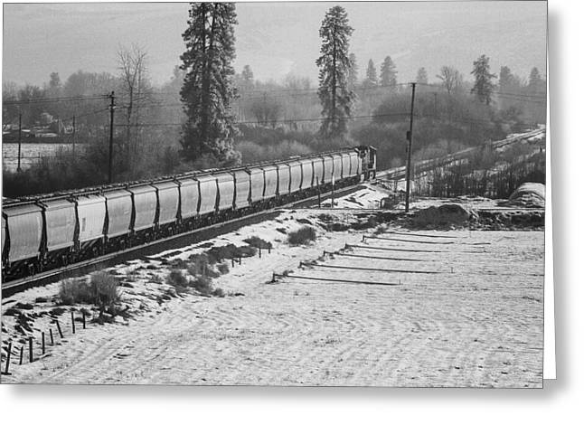 Montana Train Greeting Card by Paul Bartoszek