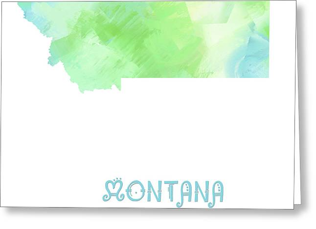 State Phrase Greeting Cards - Montana - Treasure State - Map - State Phrase - Geology Greeting Card by Andee Design