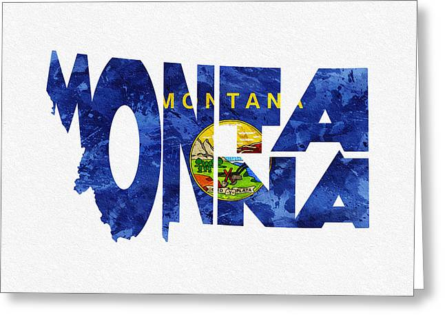 Urban Pyrography Greeting Cards - Montana Typographic Map Flag Greeting Card by Ayse Deniz