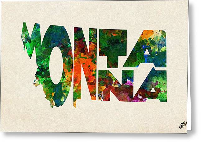 Montana Digital Art Greeting Cards - Montana Typographic Watercolor Map Greeting Card by Ayse Deniz