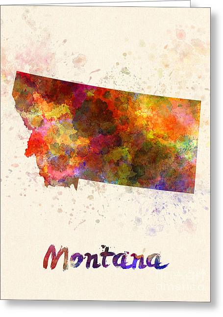 Montana State Map Greeting Cards - Montana US state in watercolor Greeting Card by Pablo Romero