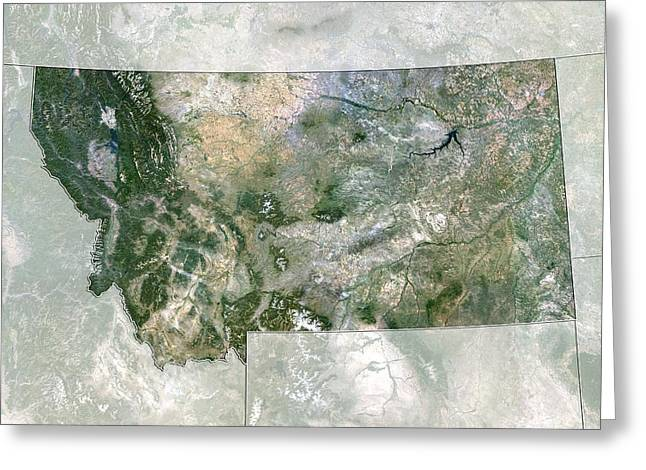 Northeastern United States Greeting Cards - Montana, USA, satellite image Greeting Card by Science Photo Library