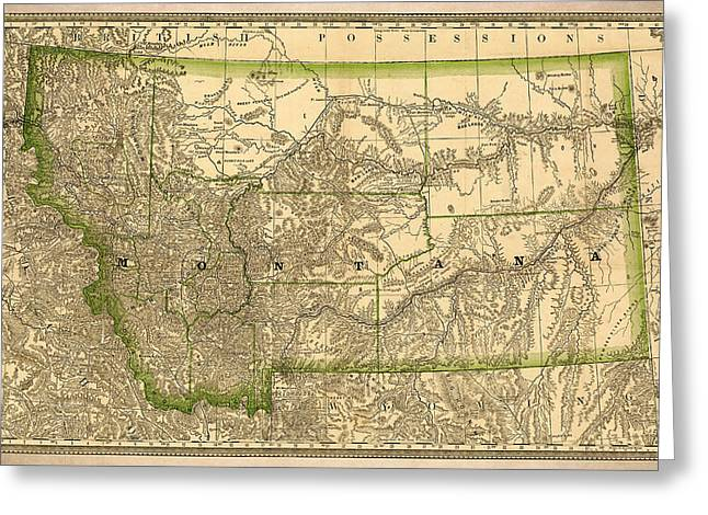 Montana State Map Greeting Cards - Montana Vintage Antique Map Greeting Card by World Art Prints And Designs