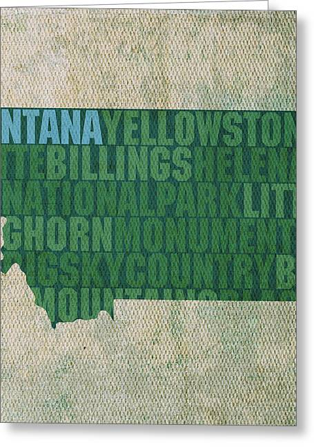 Big Sky Country Greeting Cards - Montana Word Art State Map on Canvas Greeting Card by Design Turnpike