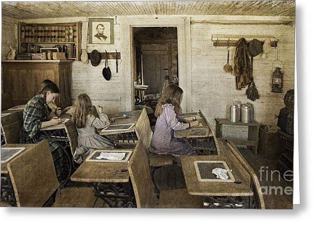 Sepia Chalk Greeting Cards - Montanas Oldest Standing Schoolhouse Greeting Card by Priscilla Burgers