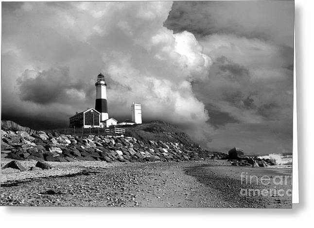 Lighthouse Artwork Greeting Cards - MONTAUK BLACk AND WHITE Greeting Card by Skip Willits