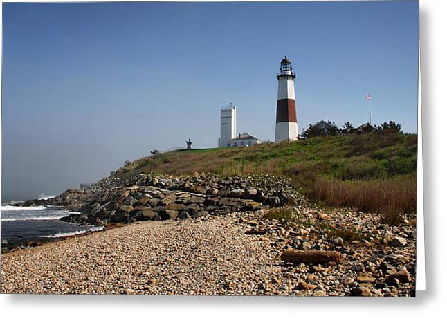 Sand Dune Greeting Cards - Montauk Lighthouse Greeting Card by Alida Thorpe