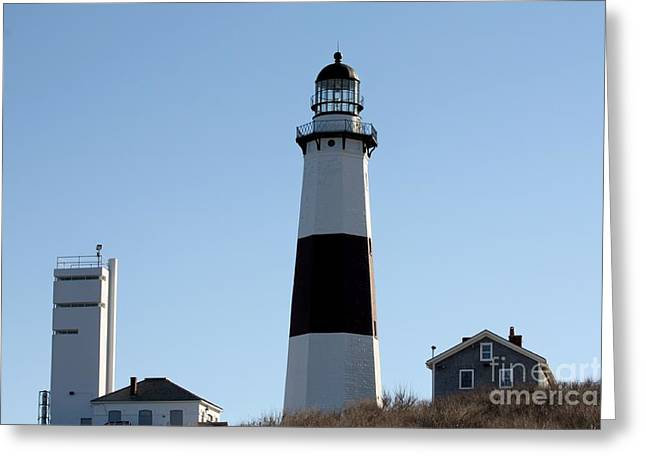 Buildings By The Ocean Greeting Cards - Montauk Lighthouse As Seen From the Beach Greeting Card by John Telfer