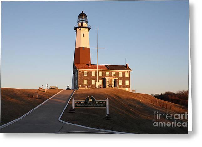 Sunset Framed Prints Greeting Cards - Montauk Lighthouse Entrance Greeting Card by John Telfer