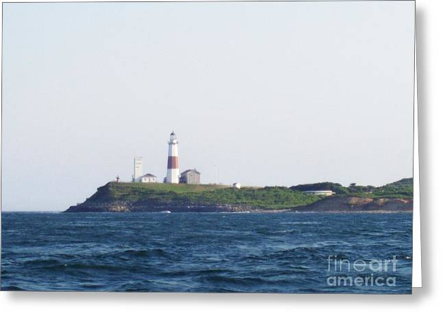 Boats On Water Greeting Cards - Montauk Lighthouse From The Atlantic Ocean Greeting Card by John Telfer