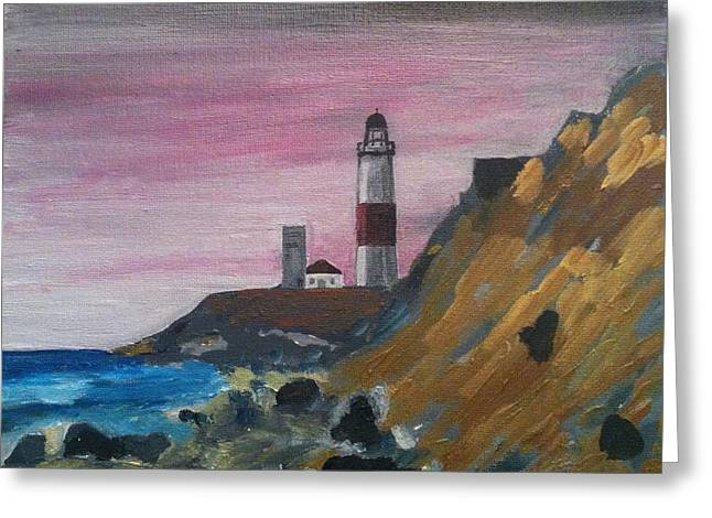 In The End I Greeting Cards - Montauk  Lighthouse Rocks Greeting Card by Joe Ballone