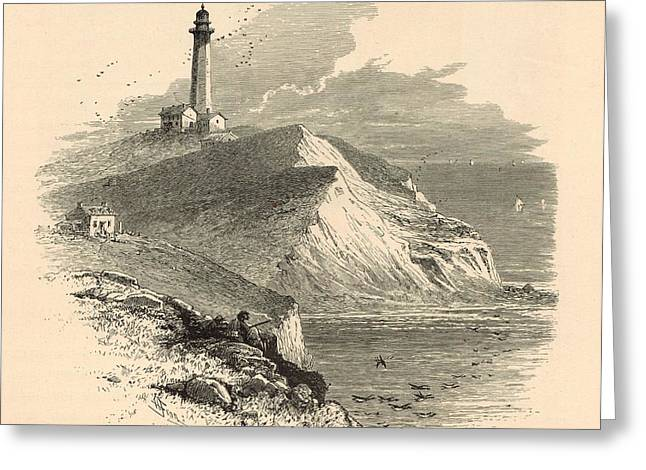 Hamptons Drawings Greeting Cards - Montauk Point  1872 Engraving by Harry Fenn Greeting Card by Antique Engravings
