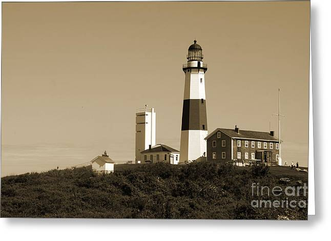 Christiane Schulze Greeting Cards - Montauk Point Light In Sepia Greeting Card by Christiane Schulze Art And Photography