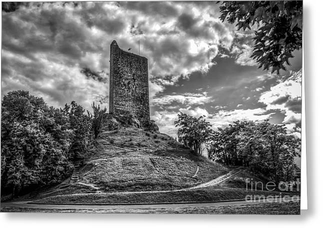 """south West France"" Greeting Cards - Montcuq Tower Greeting Card by Tony Priestley"