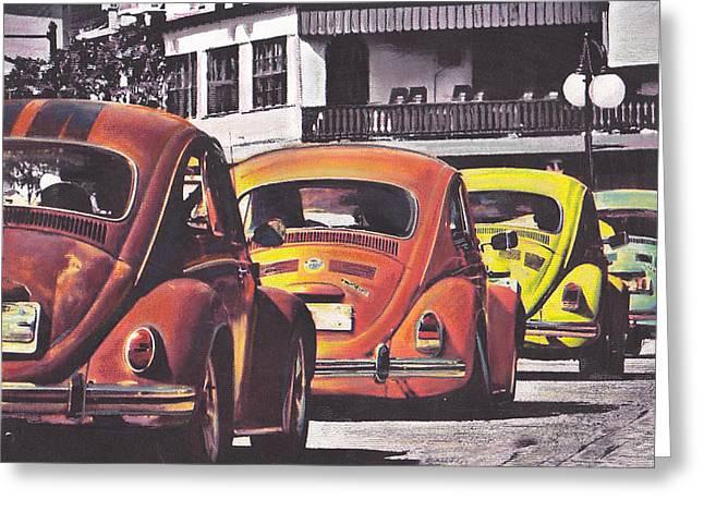 Vw Beetle Pastels Greeting Cards - Monte Carlo Greeting Card by Art-Haus-Ink