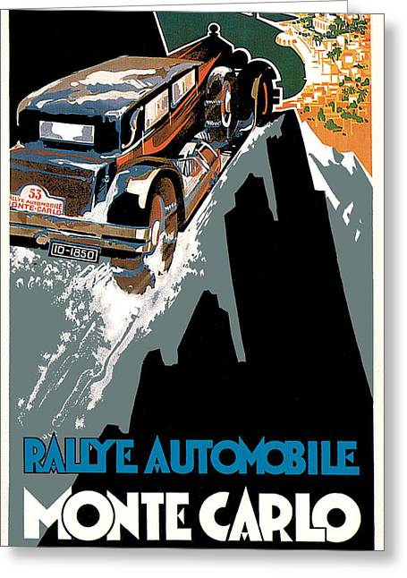 Rally Greeting Cards - Monte Carlo - Vintage Poster Greeting Card by World Art Prints And Designs