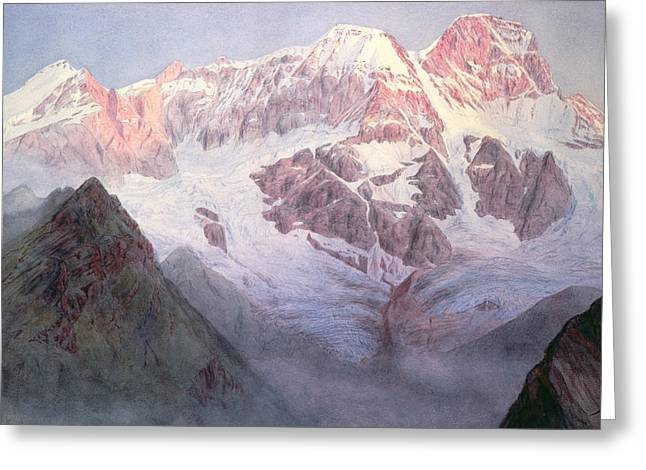 Wintry Greeting Cards - Monte Rosa at Sunrise from above Alagna Greeting Card by Alfred Gibson William