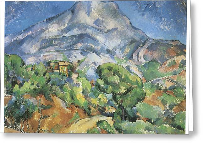 Victoire Paintings Greeting Cards - Monte Sainte-Victoire above the Tholonet Road Greeting Card by Paul Cezanne