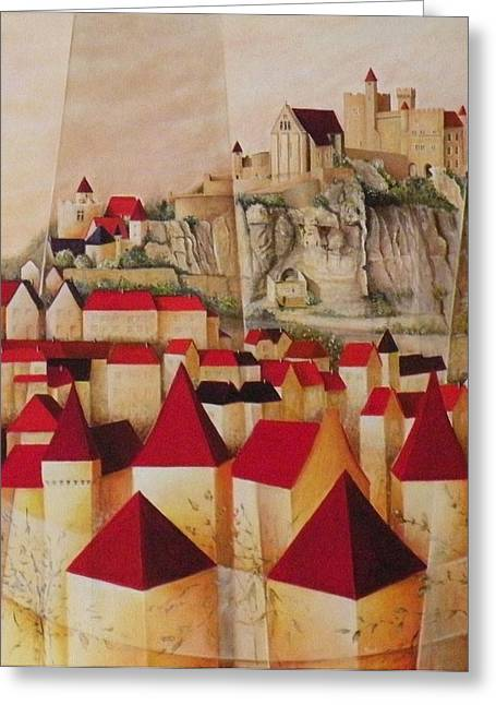 Chateau Greeting Cards - Montee vers Beynac Greeting Card by Frank Godille