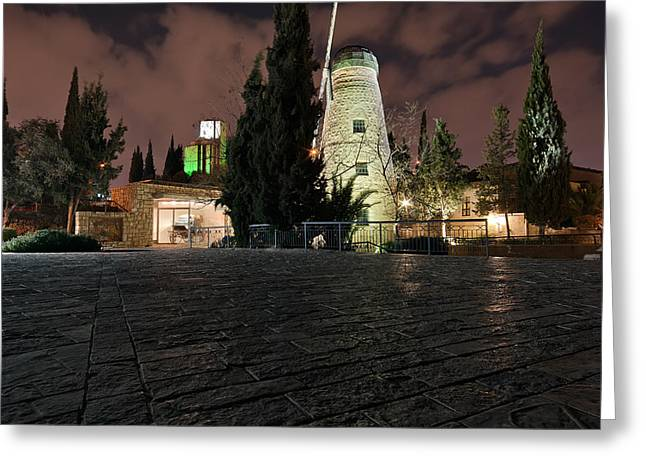 Moshe Greeting Cards - Montefiore Windmill at Yemin Moshe at Night Greeting Card by Jonathan Gewirtz
