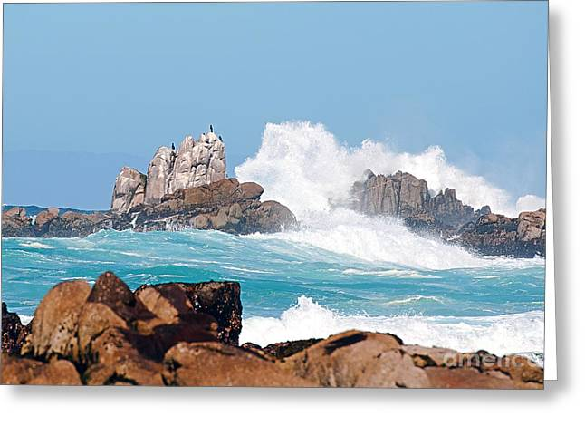 Beaches In Monterey Greeting Cards - Monterey Bay Waves Greeting Card by Artist and Photographer Laura Wrede
