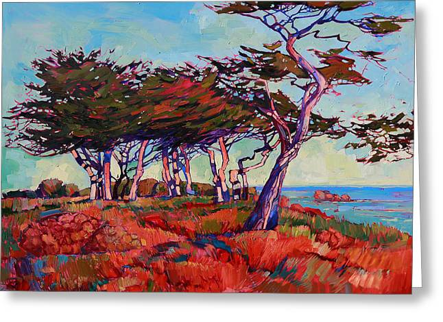 Monterey Greeting Cards - Monterey Diptych Left Panel Greeting Card by Erin Hanson