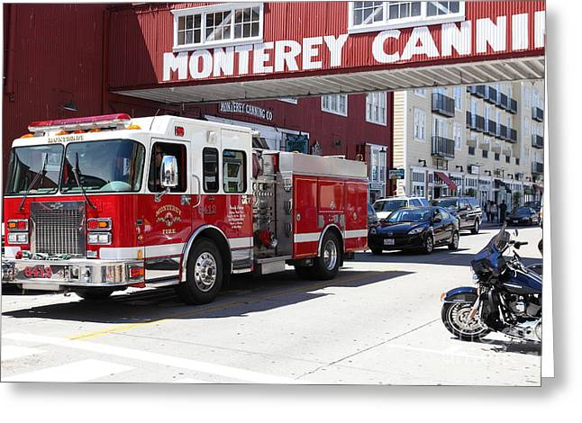 Cannery Row Greeting Cards - Monterey Fire Engine On Monterey Cannery Row California 5D25059 Greeting Card by Wingsdomain Art and Photography